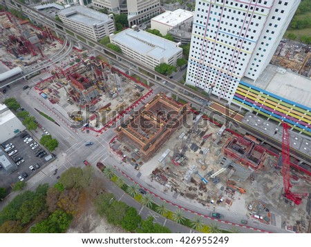MIAMI - MARCH 20: Aerial image of the Miami Central Station construction site set for completion late 2017 which will be Miami's central transit hub  March 20, 2016 in Miami FL - stock photo