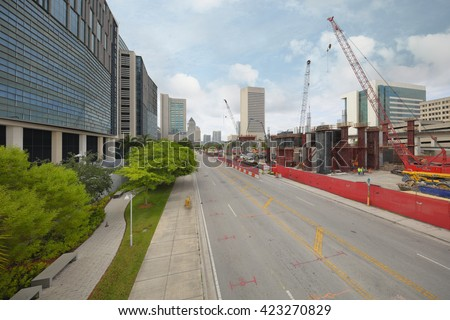 MIAMI - MARCH 16: Development of Miami Central Station which will be Miami's main transportation hub with train travel to Orlando and throughout March 16, 2016 in MIami FL, USA - stock photo