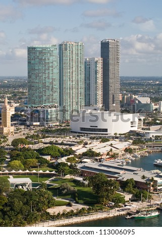 MIAMI - MAY 4: Home to the Miami Heat and viewed from 200 feet, the American Airlines Arena, built in 1998 forms an impressive backdrop to the downtown Miami area, May 4, 2012, Miami, FL. - stock photo