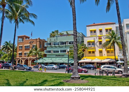 MIAMI - May 9, 2013: South Beach Miami with its iconic Art Deco architecture on May 9, 2013. - stock photo