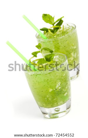Miami Mojito cocktail isolation on a white - stock photo