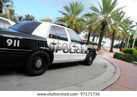 MIAMI-OCT 31:Miami beach police car on October 31, 2010 in Miami,USA.The Miami Beach Police D. is the police department of the U.S. city of Miami Beach, Florida, patrolling the entire Miami Beach area - stock photo