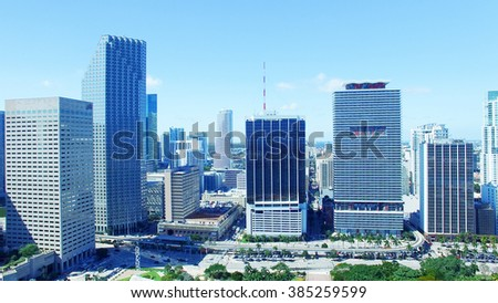 Miami panorama. Buildings and skyline from the air. - stock photo