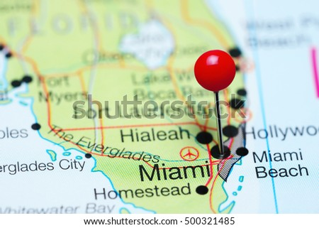 Miami Pinned On A Map Of Florida Usa