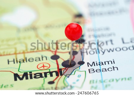 Miami pinned on a map of USA  - stock photo