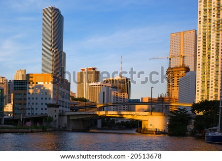 Miami River View of Downtown Miami Offices, Hotels and Residential Buildings - stock photo