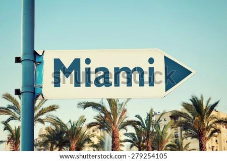 Miami Road Sign. Florida. USA - stock photo