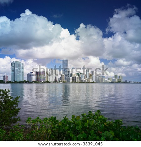 Miami's architectural history is documented in the row of condominiums along Brickell Avenue. - stock photo