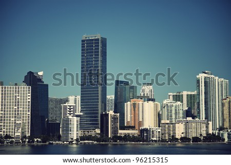 Miami seen from the road to Key Biscayne