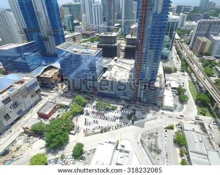 MIAMI - SEPTEMBER 9: Aerial image of Brickell City Center nearing completion which is a mixed use development located at SW 8th Street September 9, 2015 in Brickell FL, USA - stock photo