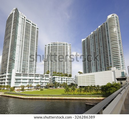 MIAMI - SEPTEMBER 25: Image of the Mint, Wind and Ivy condominiums located at Downtown Miami on the Miami River completed in 2010 - stock photo