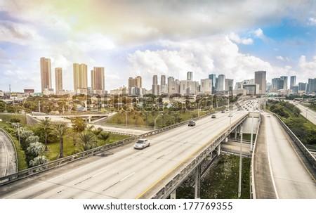 Miami skyline and Highways  - stock photo