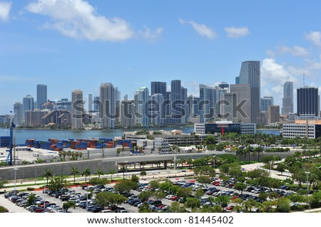 Miami Skyline and shipping docks - stock photo