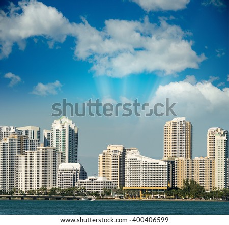 Miami skyline at dusk, Florida - USA.