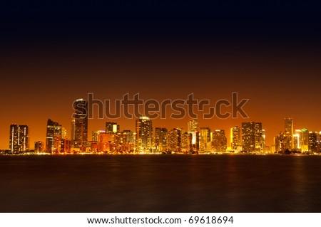 Miami skyline at night - stock photo