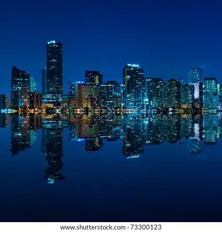 Miami skyline at night - panoramic image - stock photo