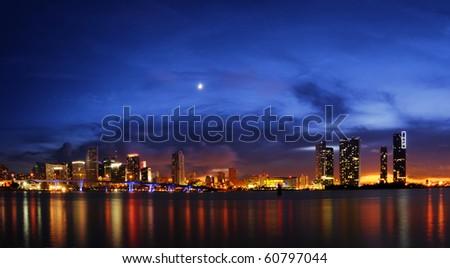 Miami skyline at night right after sundown - stock photo