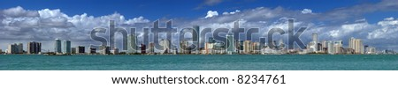 Miami Skyline - extreme panorama view at the Miami skyline - stock photo
