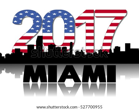 Miami skyline 2017 flag text illustration