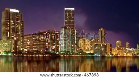 Miami skyline from Key Biscayne - stock photo