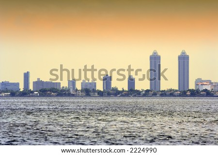 Miami skyline from the water - stock photo