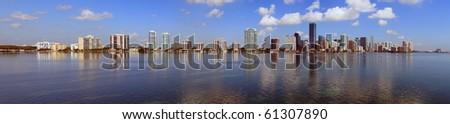 Miami Skyline Panorama and Biscayne Bay from the Rickenbacker Causeway - stock photo