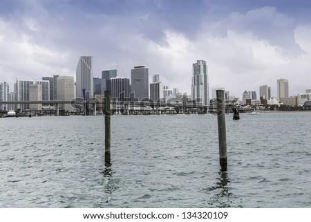 Miami skyline, South Florida - stock photo