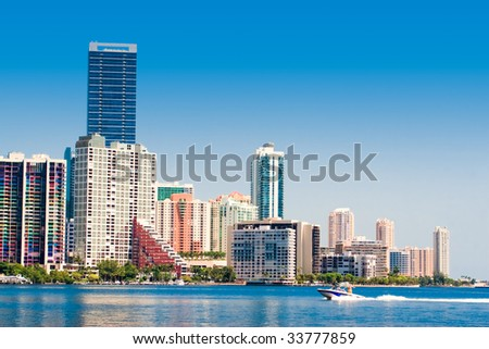 Miami skyline view from Key Biscayne - stock photo