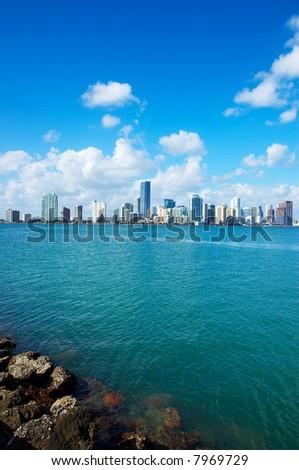 Miami Skyline - view from Key Biscayne - stock photo