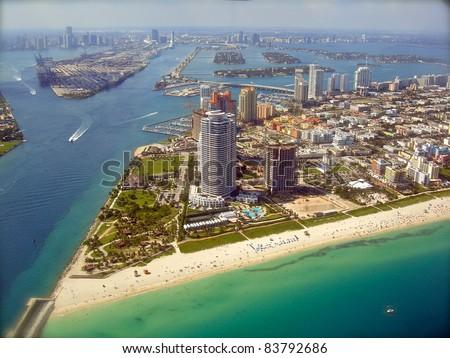 Miami Skyline - view from Plane - stock photo