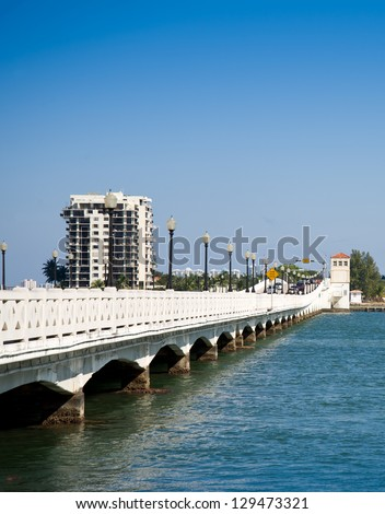 Miami Skyline with Biscayne Bay and Venetian causeway - stock photo