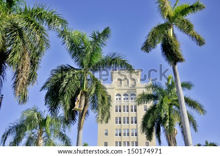 MIAMI - SOUTH BEACH - FLORIDA - USA - OCTOBER 29: Ocean drive buildings october 29 2012 in Miami Beach, Florida. Art Deco architecture in South Beach is one of the main tourist attractions in Miami. - stock photo