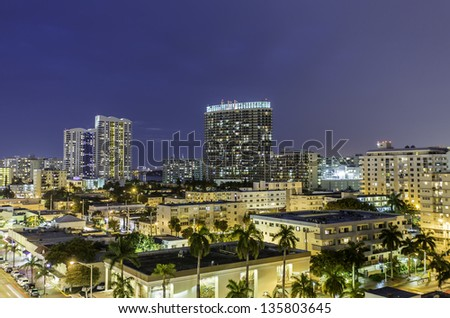 Miami South Beach night street view in Florida - stock photo