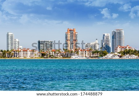 Miami south beach, view from port entry channel, Floride, USA.  - stock photo