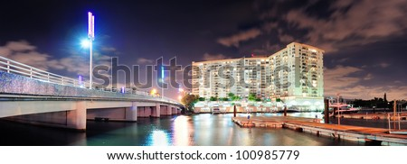 Miami south beach water front night view - stock photo