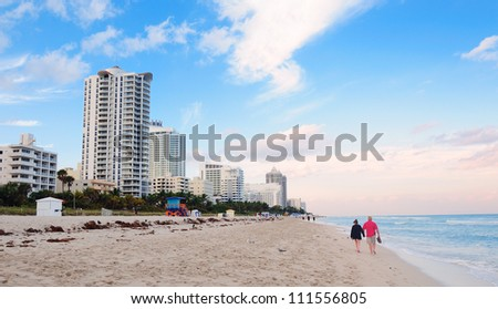 Miami South Beach with blue sky and hotels - stock photo