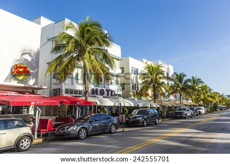 MIAMI, USA - AUG 20, 2014: Day view at Ocean drive in Miami, USA. Art Deco Life in South Beach at ocean drive is one of the main tourist attractions in Miami. - stock photo
