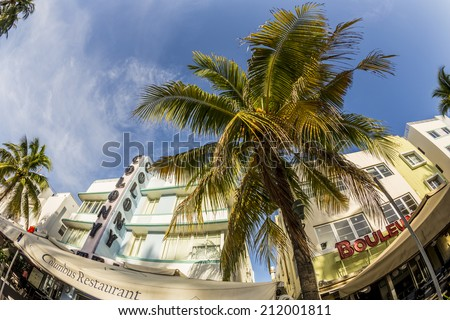 MIAMI, USA - AUG 20, 2014: The Colony hotel located at 736 Ocean Drive and built in the 1930's is the most photographed hotel in South Beach in Miami, USA.