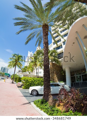MIAMI,USA - AUGUST 8,2015 : Art Deco hotels at Collins Avenue in Miami Beach