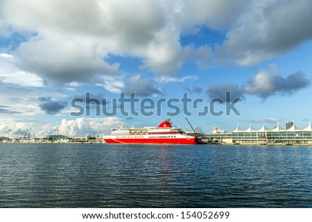 MIAMI, USA - AUGUST 7: Cruise ship Resorts world bimini super fast at home dock on August 7, 2013 in Miami, USA. The German-built Bimini SuperFast, is a 32,000 ton ship, with speeds up to 30 knots.