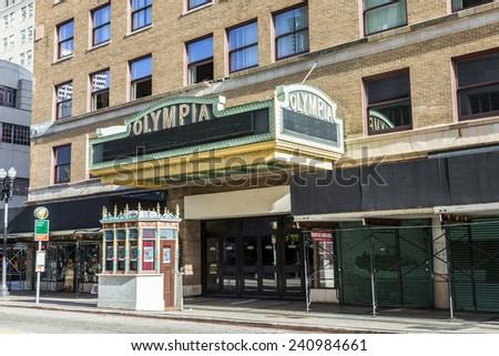 MIAMI, USA - AUGUST 19, 2014: facade of Olympia Cinema in Miami, USA. Olympia Theater by architect  John Eberson was openend in 1926. - stock photo