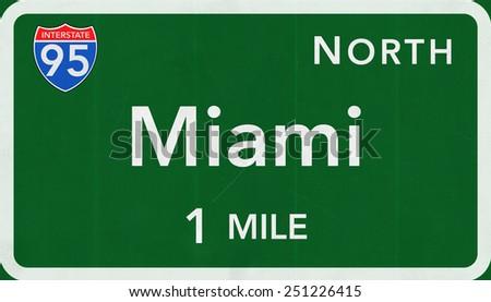 Miami USA Interstate Highway Sign - stock photo