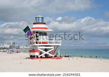 MIAMI, USA - JAN 5: Red and white lifeguard tower at Miami South Beach, January 5, 2010 in Miami Beach, Florida, USA