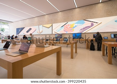 MIAMI, USA - MARCH 14, 2016: Apple Store panoramic inside view. Apple Inc. is an American multinational technology company headquartered in Cupertino, California.