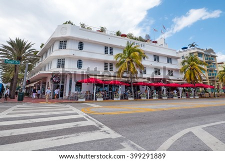 MIAMI, USA - MARCH 14, 2016: View of the famous Art Deco Bentley Hotel in Ocean Drive. South Beach (also known as SoBe), is one of the more popular areas of Miami Beach.  - stock photo