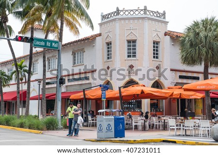 MIAMI, USA - MARCH 21, 2016: View of the famous Lincoln road in Sobe. South Beach (also known as SoBe), is one of the more popular areas of Miami Beach. - stock photo