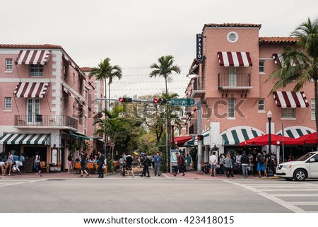 MIAMI, USA - MARCH 21, 2016: Washington avenue view. - stock photo