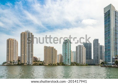 MIAMI,USA - MAY 27,2014 : The skyline of downtown Miami seen from the ocean
