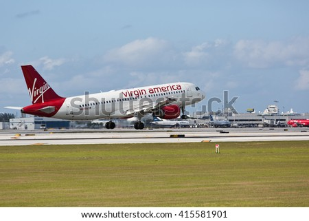 MIAMI, USA - MAY 4, 2016: Virgin Atlantic Airlines Airbus A319 landing at the Fort Lauderdale/Hollywood International Airport. - stock photo