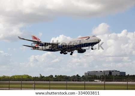 MIAMI, USA - October 22, 2015: Boeing 747 British Airways lands at Miami International Airport. - stock photo